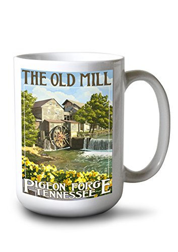 Shopping In Pigeon Forge (Lantern Press Pigeon Forge, Tennesseee - The Old Mill (15oz White Ceramic)
