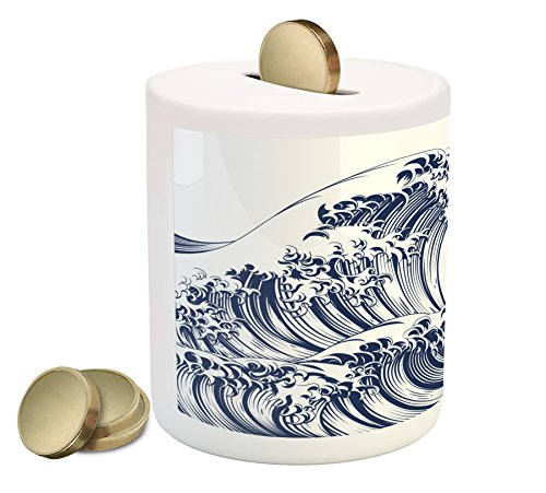 Cheap  Ambesonne Japanese Wave Piggy Bank, Oriental Vintage Great Wave Monochrome Kanagawa Inspired..