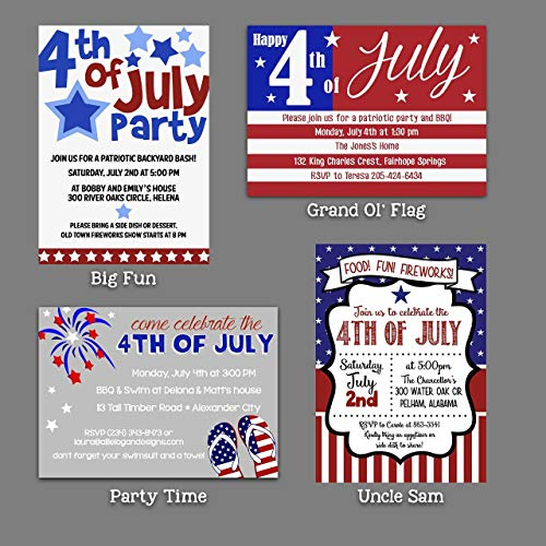 4th of July Independence Day Invitations - 4 Custom Choices