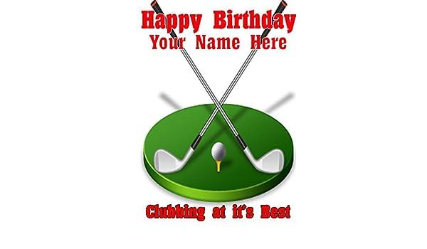 Palos de golf cptmi42 feliz cumpleaños A5 Tarjeta de ...