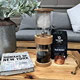 iced coffee dripper - Cold Brew Iced Coffee Maker - Serenity 2 Cup Drip Coffee Brewer System with BPA Free Glass Dripper, Stainless Steel Valve & Filter and Classy Beech Wood Frame | Enjoy Low Acid Coffee at Home