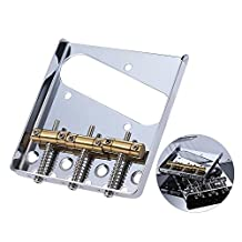 Andoer 3 Copper Saddle Ashtray Bridge Tailpiece Chrome Plated for Telecaster TELE Electric Guitar Replacement Part with Screws Wrench