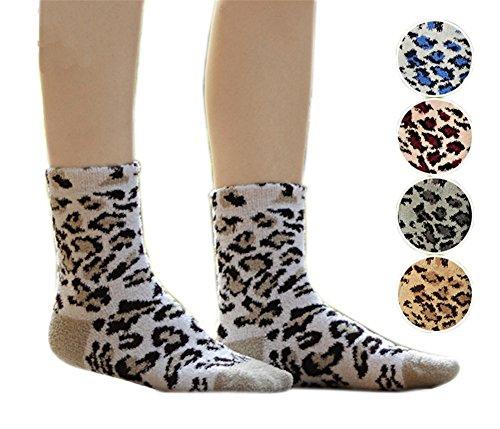 AnVei Nao Womens Leopard Velvet Slipper