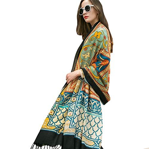 - DANA XU 100% Pure Wool Women Scarf Large Size Pashmina (Yellow)