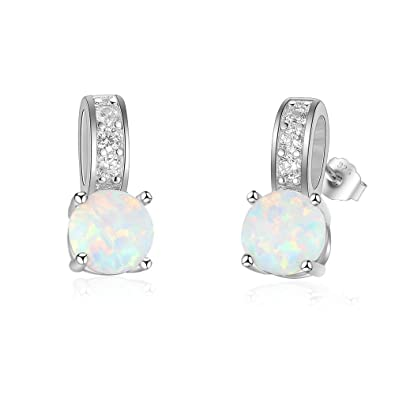 0d037d4cb Buy Solid 925 Sterling Silver Jewellery Opal Vintage Women's Luxury Stud  Earrings Online at Low Prices in India   Amazon Jewellery Store - Amazon.in