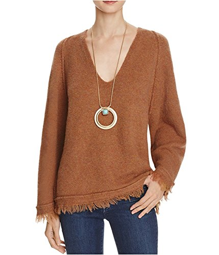 Free People Womens Irresistible Wool Blend Fringe Pullover Sweater Brown M (Free People Wool Sweater)