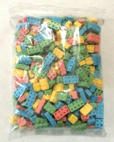 Dubble Bubble Candy Blox Uncoated Assorted Candy, 2 Pounds Build 'Em and Eat 'Em. Includes a Free 4 Oz Bag of Amish Country Popcorn (Building Blox Candy compare prices)