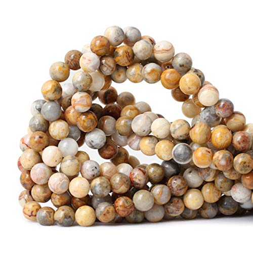 (CHEAVIAN 45PCS 8mm Natural Yellow Crazy Lace Agate Gemstone Round Loose Beads for Jewelry Making 1 Strand)