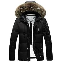 Mens Winter Coat Thicken Warm Hooded White Waterproof Jacket Raccoon Fur Collar