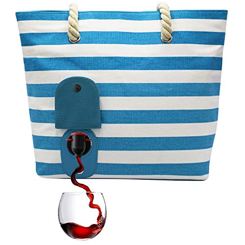 PortoVino Beach Wine Tote (Turquoise/White) - Beach Bag with Hidden, Insulated Compartment, Holds 2 bottles of Wine!