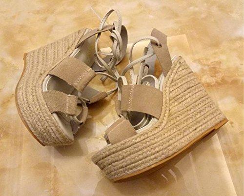 LvYuan Sandalias del verano de las mujeres / talón ultra ultra atractivo / plataforma impermeable / paja plegable / talón de la cuña / correa / oficina y carrera / zapatos romanos beige