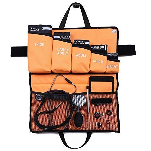 5-in-1 Palm Aneroid Sphygmomanometer and Stethoscope Kit by LotFancy, Adult, Large Adult, Child, Infant, Thigh Cuffs, Penlight and Portable Carrying Case Included
