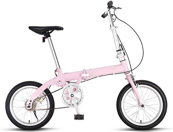 Mini Sola Velocidad Bici Urbana, Bici Compacta, Bicicleta Plegable For Bicicleta Mujer Con Doble Freno De Disco, Asiento Del Manillar De Aleación De Aluminio Y Cierre Rápido, Pedal, 16inchs Rueda: Amazon.es: Hogar