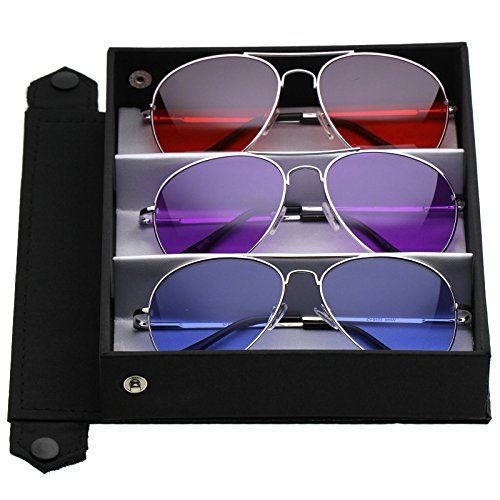 zeroUV - Classic Metal Frame Colored Teardrop Lens Aviator Sunglasses 57mm (3-Pack Deluxe   Red + Purple + Dark - Sunglasses Aviator Coloured
