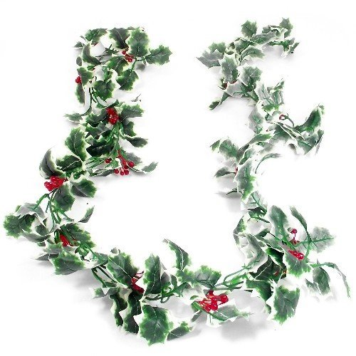 Festive Artificial Variegated Holly & Berry Christmas Garland 170cm length - Party Wedding Foliage Wreath Mantlepiece