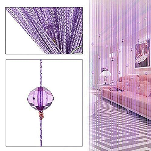 Zebery Decorative Door String Curtain Beads Wall Panel Fringe Window Room Divider Blind ,Light Purple