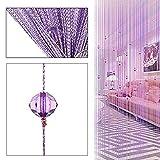 Zebery Decorative Door String Curtain Beads Wall Panel Fringe Window Room Divider Blind ,Light Purple
