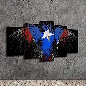 Artwu,Puerto Rico Flag Eagle,Wall Art Home Wall Decorations for Bedroom Living Room Oil Paintings Canvas Prints-1076 (22x40inch,Unframed)