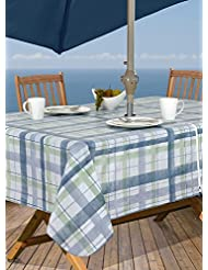 Lexington Plaid Blue Vinyl Tablecloth, 60 Inch By 84 Inch Oblong (Rectangle