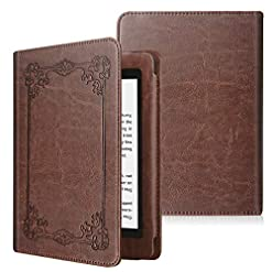 FINTIE Folio Case for Kindle Paperwhite (Fits All-New 10th Generation 2018 / All Paperwhite Generations) – Book Style Premium PU Leather Shockproof Cover with Auto Sleep/Wake, Vintage Antique Bronze