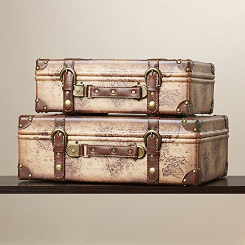 Vintiquewise(TM) Old World Map Leather Vintage Style Suitcase with Straps, Set of 2