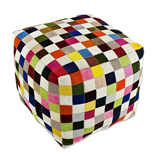 NOVICA Bohemian Leather Ottoman Covers , Multicolor, 'Carnaval Chess Cube' by NOVICA