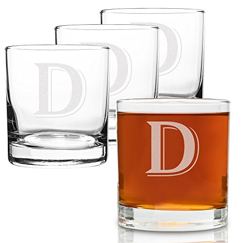 (D-Monogram)- 4 Piece Set of 11 Ounce Engraved Heavy Base Rocks Glasses Elegant Glass-Multi-Purpose Beverage-Rocks Glass- Perfect Gift for any Occasion- By: On The Rox