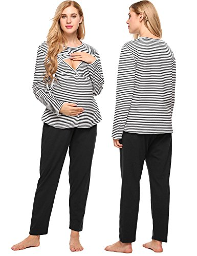 Cute Nursing Pajamas (Aimado Plus Size Maternity Clothes Nursing Pajama Sets Breastfeeding Tops (Black, Small))