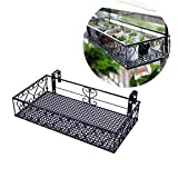 Ibnotuiy Metal Balcony Plant Pot Stand Hanging Planter Flower Pot Holder Rack Railing Shelf (Large, Black)