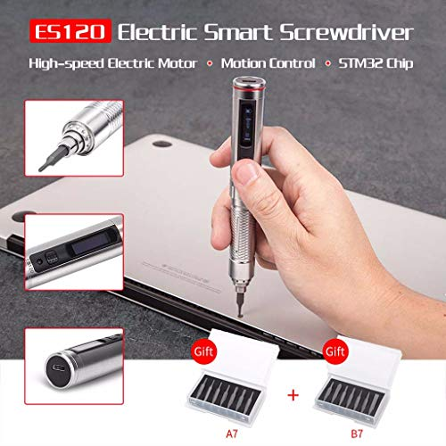 Electric Screwdriver Kits – ES1210 /ES121 /ES121V Cordless Smart Motion Control Screwdrivers STM32 Chip OLED with Screwbits Home Multi-Tool Repair Tool Set (ES120)