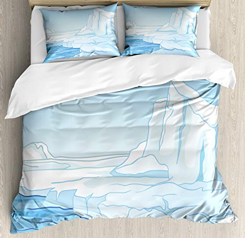 Ambesonne Ice Berg Duvet Cover Set Queen Size, Cartoon Style Winter Theme Lake Snow Capped, Decorative 3 Piece Bedding Set with 2 Pillow Shams, Pale Blue Pale Azure Blue White and Baby Blue