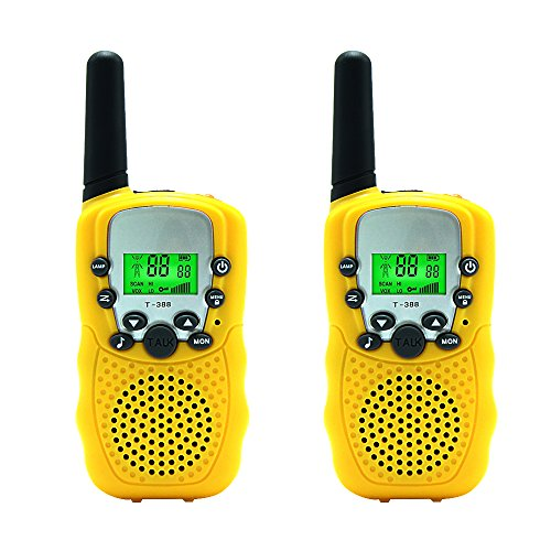 Aphse Kids Walkie Talkie Two Ways Radio Toy T-388 Walkie Talkie for Kids 2 Miles Range 3 Channels FRS GMRS Handheld Mini Walkie Talkies for Outdoor Adventures Camping Hiking Set of 2 (Yellow) Kids Range