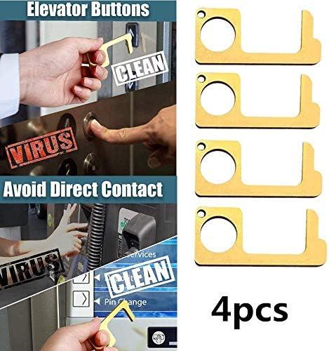ノータッチドアオープナー、4個、キーチェーンハンドツールドアオープナー抗菌衛生真鍮金属4PCS検疫EDC