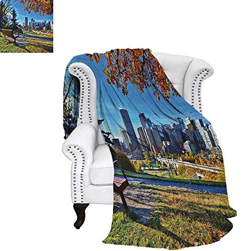 - CityFlannel blanketPark Bench Overlooking The Skyline of Calgary Alberta During Autumn Tranquil Urbancouch Blanket 60