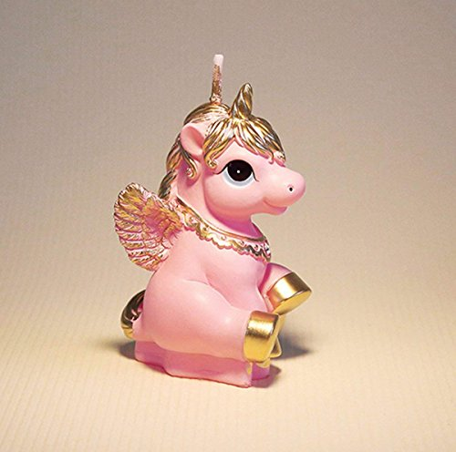 TBJSM Super Cute Gold Fly Unicorn Cake Cupcake Topper Birthday Gifts Wish Candle Wedding Party Decorations (Pink) by TBJSM (Image #4)
