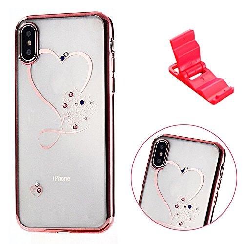 Funda iPhone 6s Suave, Cristal Claro Bling Plating Pink SXUUXB iPhone 6 Transparente Funda, Luxury [Ultra Híbrido] TPU Silicona Suave y Papel Sparkle Carcasa Caja Protectora con Chispea Diamante para  Rosado 3