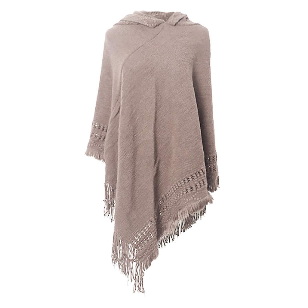 BOIYI Ladies Hollow Oversize Cashmere Feel Pashmina//Scarf//Wrap//Poncho with Tassel Winter Hooded Cape Shawl for Womens