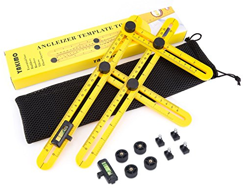 UPGRADED Universal Angularizer Ruler with Unique Line Level, Embedded Metal Bolts and Nuts, Ultra Nook Scale Ruler Best for Easy Multi Angle Measuring, Angleizer Angle-izer Template Tool