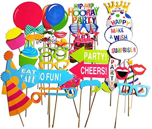 Birthday Photo Booth Props,Fully Assembled,No DIY Required,Mix of Hats,Lips,Crowns,Mustaches and More,Durable and Vibrant For Birthday Party 38pcs
