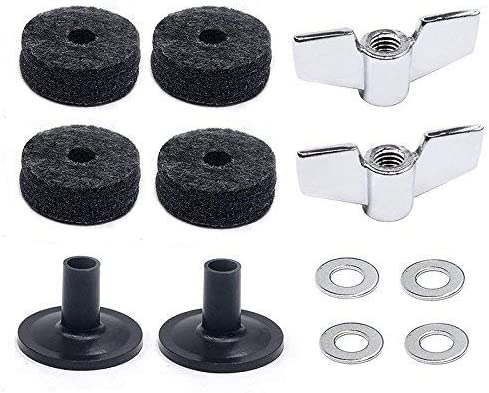 (12 Pieces)Cymbal Replacement Accessories Cymbal Felts Hi-Hat Clutch Felt Hi Hat Cup Felt Cymbal Sleeves with Base Wing Nuts and Cymbal Washer 51YVJG2BeErL
