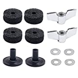 (12 Pieces)Cymbal Replacement Accessories Cymbal Felts Hi-Hat Clutch Felt Hi Hat Cup Felt Cymbal Sleeves with Base Wing Nuts