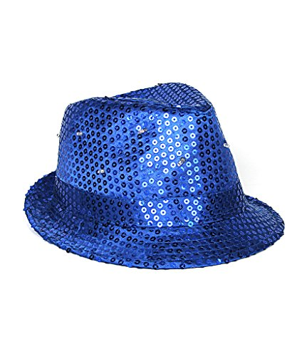 Fun Central LED Light Up Sequin Fedora Hats for Men & Women - Blue