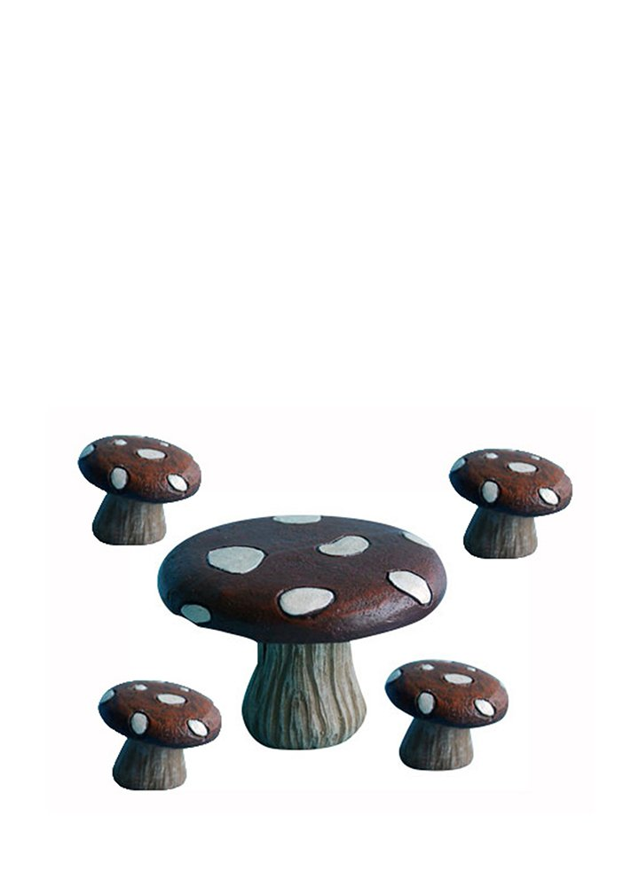 Hi-Line Gift Ltd Fairy Garden Mushroom Table with 4-Stools Figurines