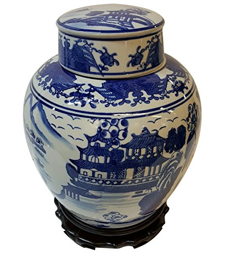 white and blue ginger jar 18 - 9