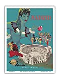 Madrid - Iberia Air Lines of Spain - Plaza de Toros de Las Ventas - Bullfighting Arena - Vintage Airline Travel Poster by Gorosc.1960 - Master Art Print - 9in x 12in