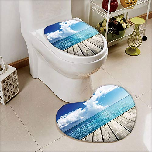 Cover Set Non-Slip mat Bathroom Non-Slip mat,Wood Deck with Cloud Sky Landscape in Tropics,3D Print Heart Shape Toilet seat Cushion Customized Fashion ()