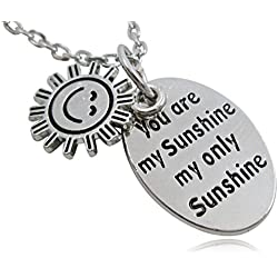 "Silver Tone ""You Are My Sunshine My Only Sunshine"" Engraved Oval Happy Face Charm Pendant Necklace Jewelry Gift"