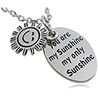 """Silver Tone """"You Are My Sunshine My Only Sunshine"""" Oval Charm Necklace - BOTH SIDES INSCRIBED"""