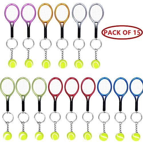 Axmerdal Mini Tennis Racket Keychain Key Ring Creative Fashionable Alloy Tennis Ball Racquet Split Ring Sport Style Split Keychain Sport Lovers Gift Prize Set Exquisite & Lightweight (15pcs)