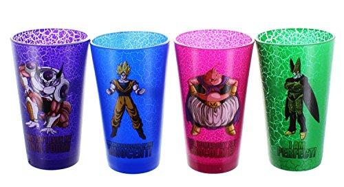 4-Pack GIFT SET of 16oz Dragon Ball Z OFFICIAL Pint Glasses: Majin Buu, Cell, Frieza and Super Saiyan Goku